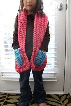 Pocket Scarf Kid Size Crochet Crochet Kids Scarf Crochet