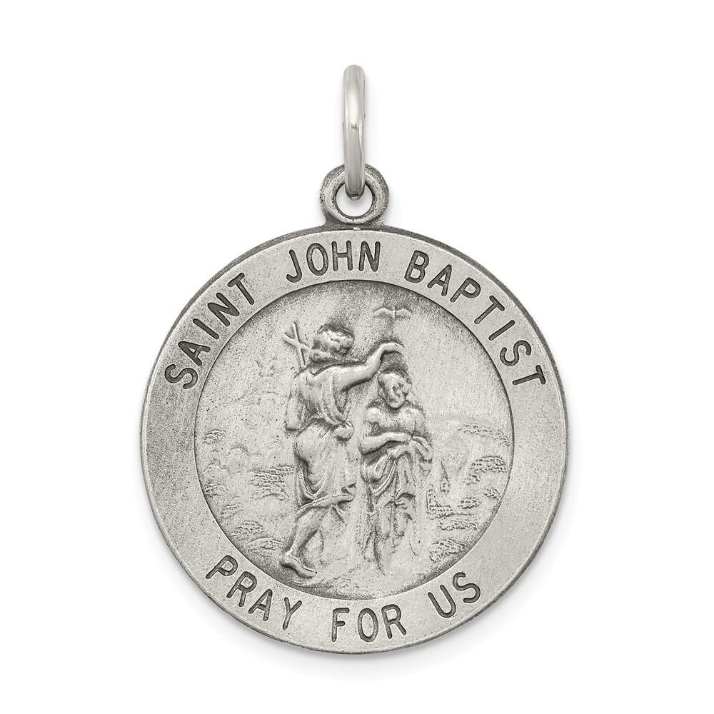 New Polished 3//4in 0.925 Sterling Silver Saint St Rocco Medal Pendant Necklace