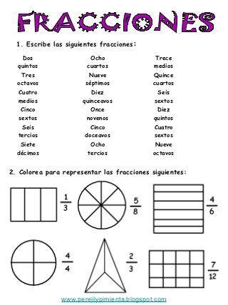 Fracciones 4º primaria t6 | Escola | Pinterest | Cuarto grado, Grado ...