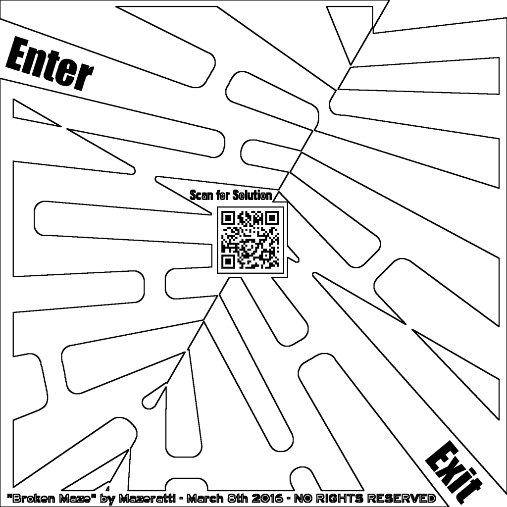 click to view the broken maze coloring page larger