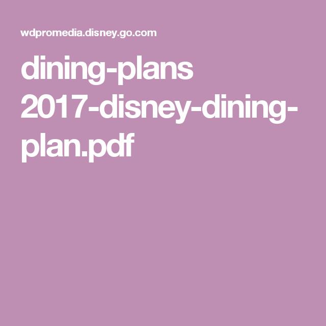 Disney Dining Plan Pdf