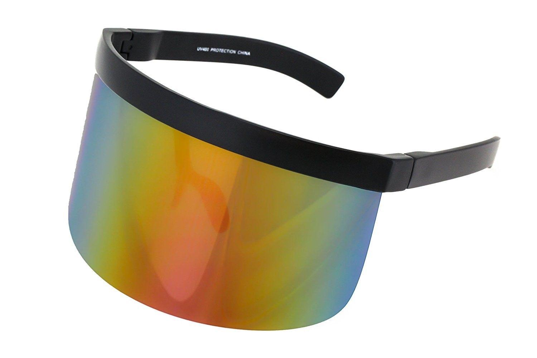 6cc0d8fe Elite Futuristic Oversize Shield Visor Sunglasses Flat Top Mirrored Mono  Lens 172mm - Orange Mirror - CF11HWM9QO7 - Women's Sunglasses, Shield  #Sunglasses ...