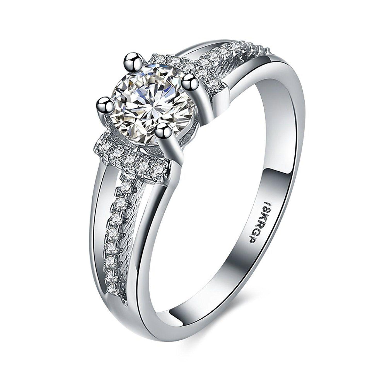 Eternity Love Women Wedding Engagement Rings 18K Gold