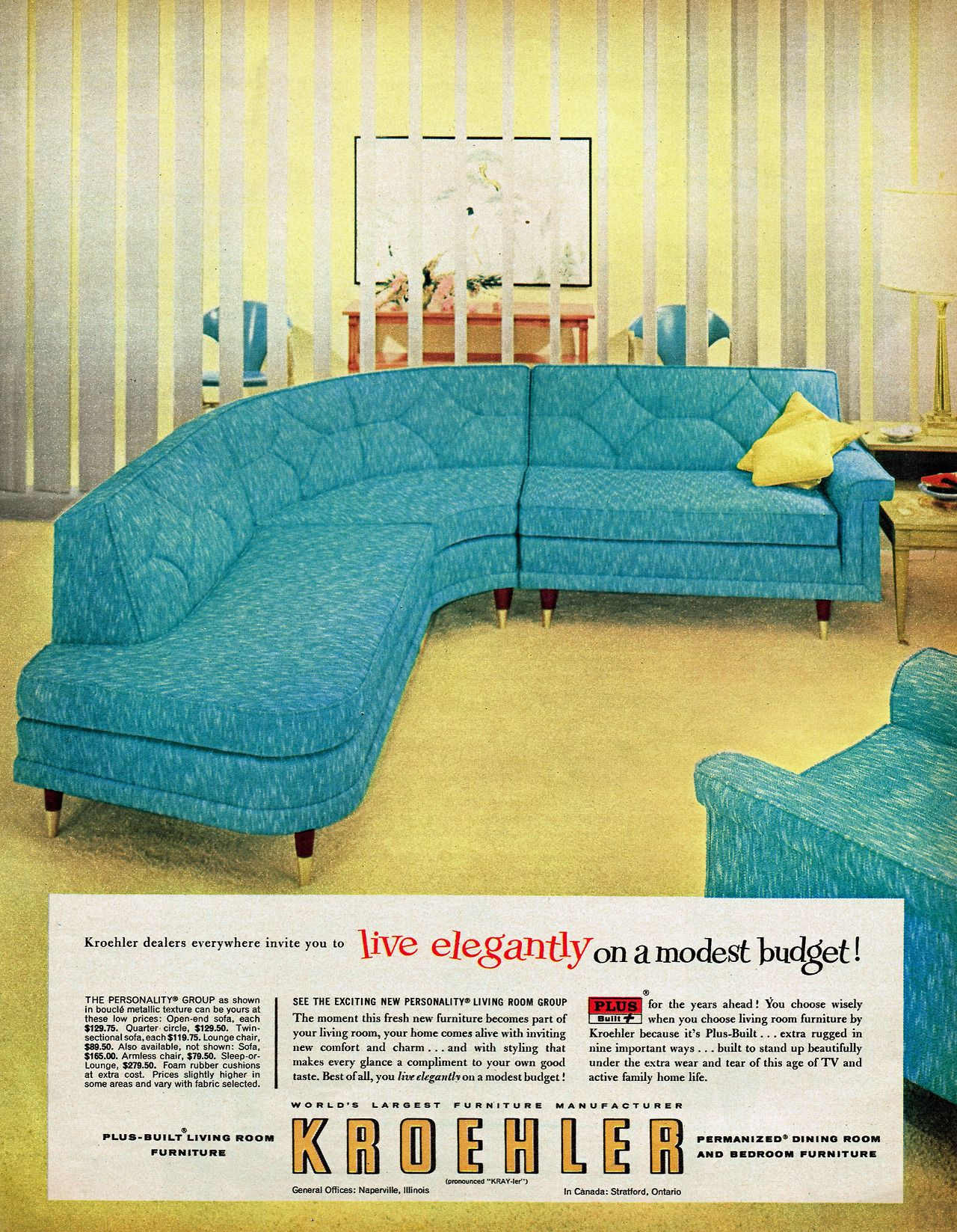Kroehler Furniture 1957 Retro Mid Century Decor Mid Century