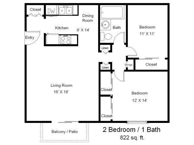 Two bedroom floor plans one bath