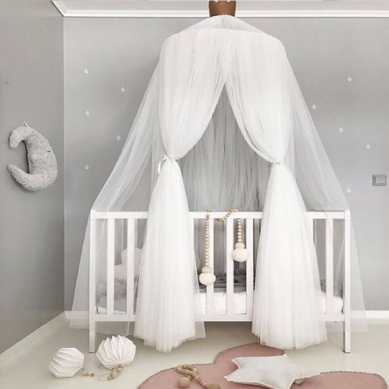 Blue Nursery Room Canopy Length 118 Inch Baby Room Mosquito Net with Eco-Friendly Cotton and Polyester Fabric