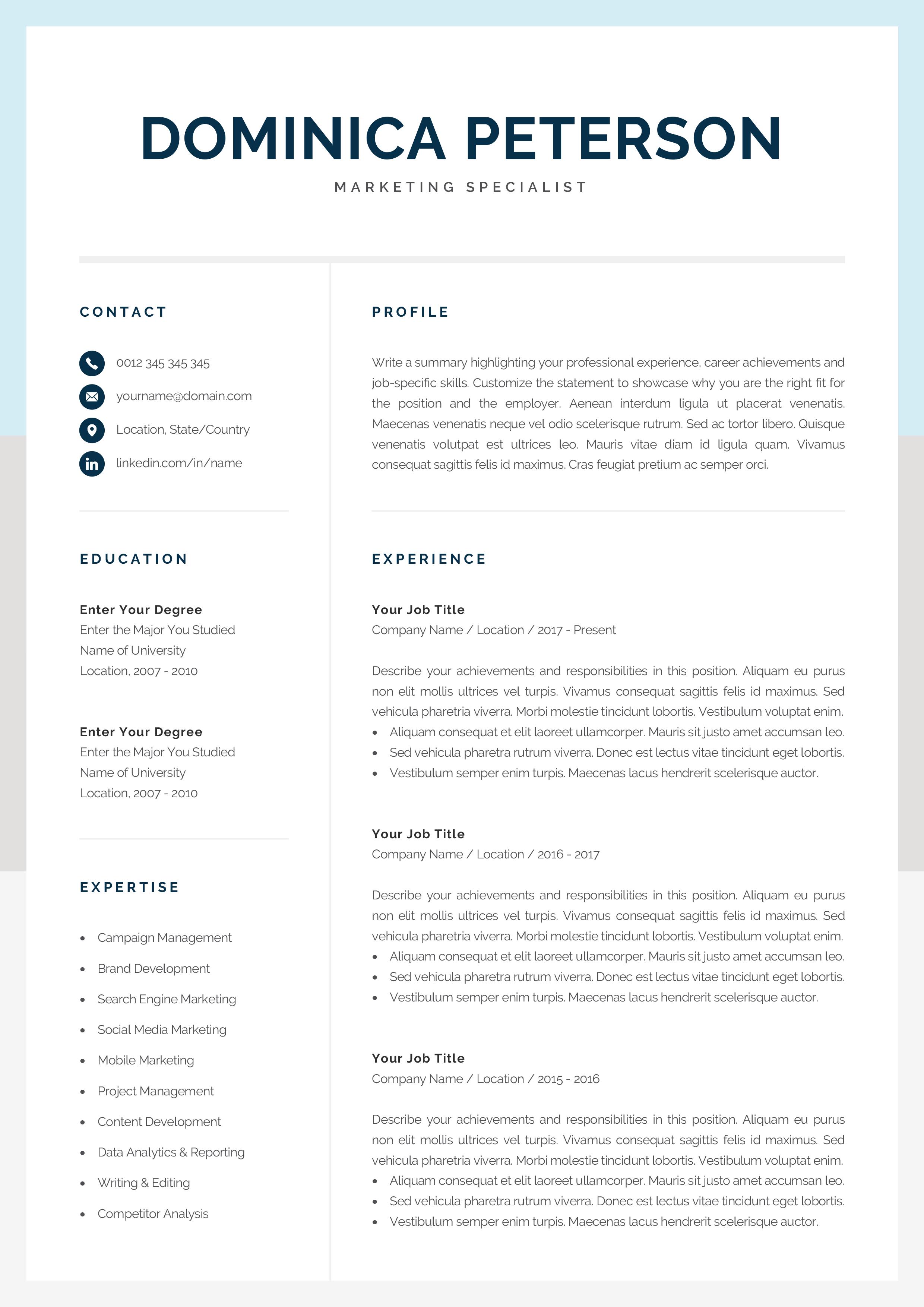 Modern Resume Template Creative Cv Design 1 2 Page Etsy In 2020 Modern Resume Template Resume Template Creative Resume Templates