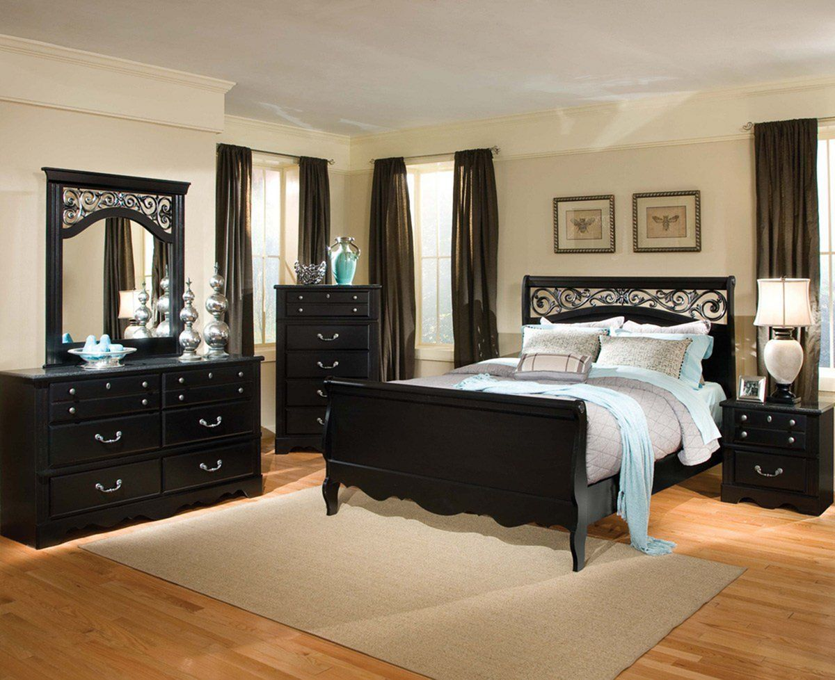 Dark cozy bedroom with elegant black bedroom furniture ideas