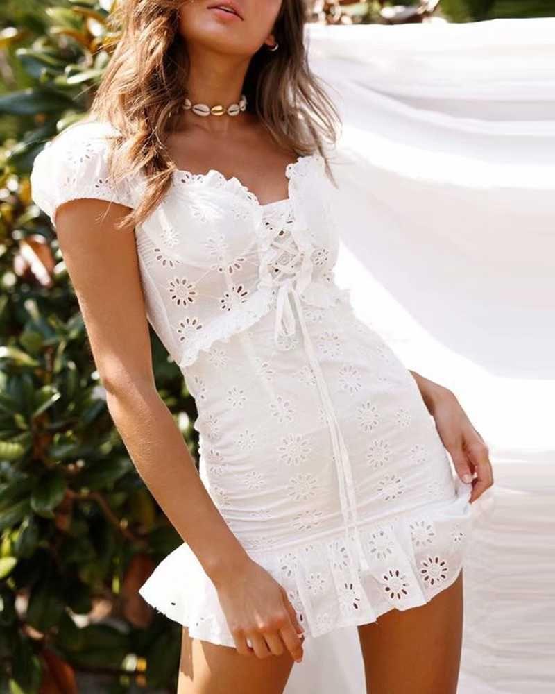 Elegant Criss Cross White Lace Eyelet Dress Puff Sleeve Classy Dress Ladies Mini Dresses Body Con Dress Outfit [ 1000 x 800 Pixel ]