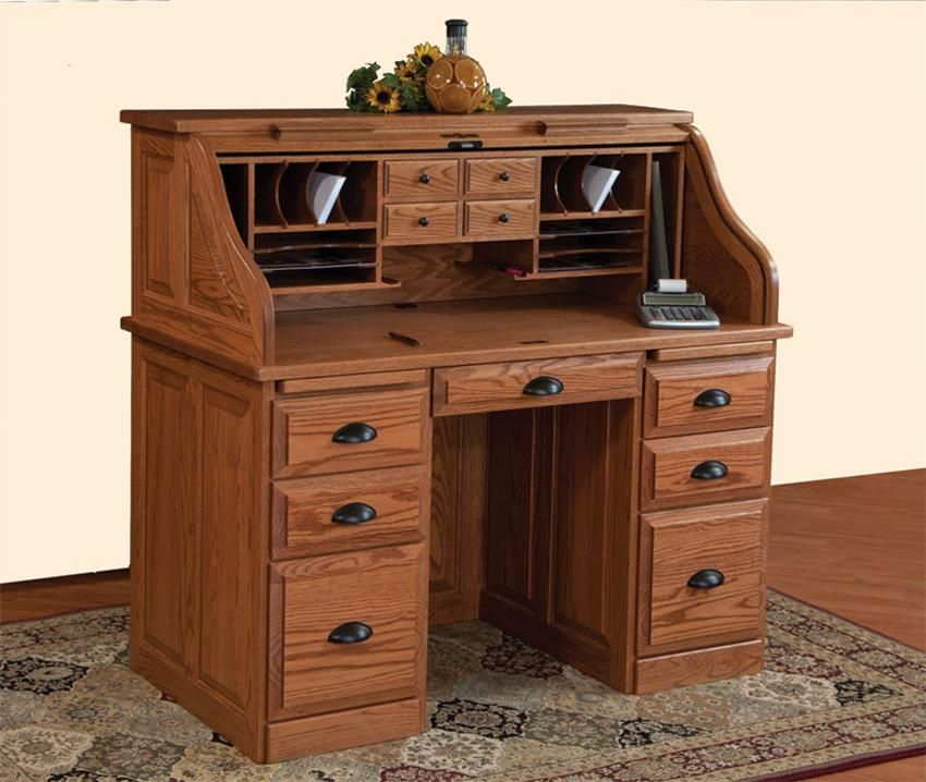 Magnificent Amish Traditional 50 Roll Top Desk Amish Furniture Home Interior And Landscaping Synyenasavecom