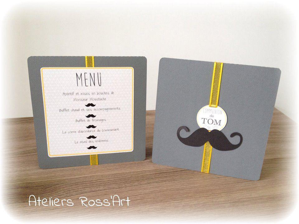 menu moustache bapt me communion d coration de table jaune et gris bapteme pinterest. Black Bedroom Furniture Sets. Home Design Ideas