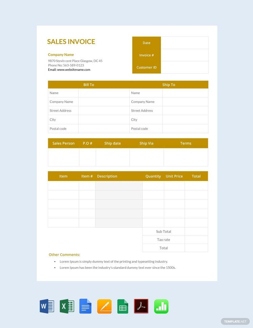 Sales Invoice Template Free Pdf Google Docs Google Sheets Excel Word Template Net Invoice Template Invoice Design Template Sales Template