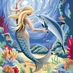 Картина по номерам Русалка | Картины, Краска, Океан искусство