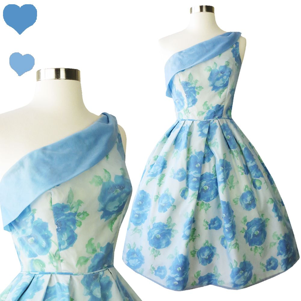 Vintage 50s 60s Blue Roses Prom Dress XS, $90.00 | PinupDresses ...