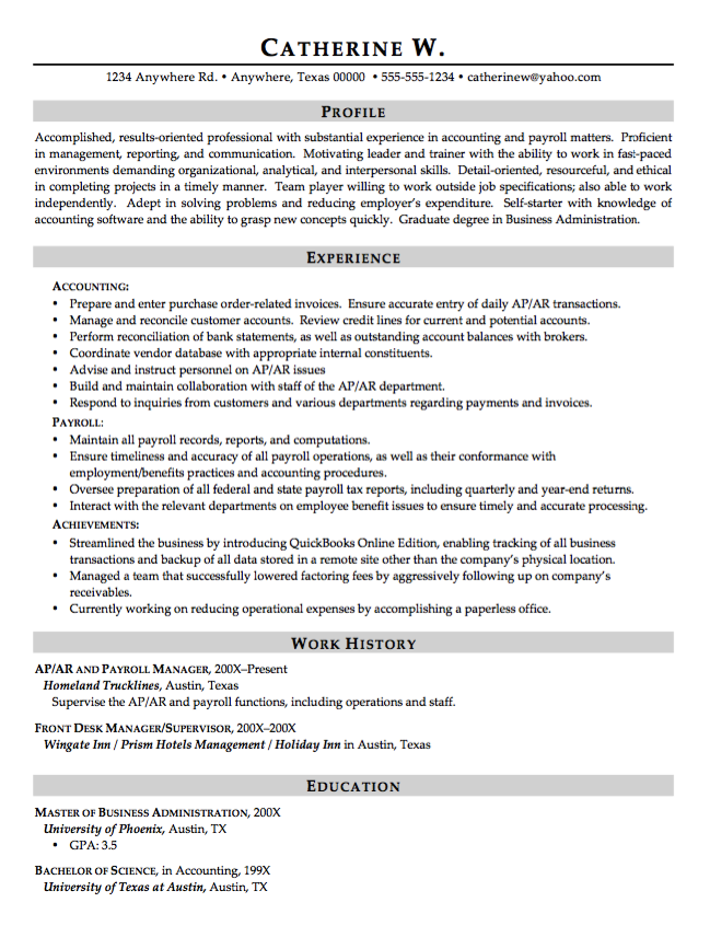 sample hotel supervisor resume