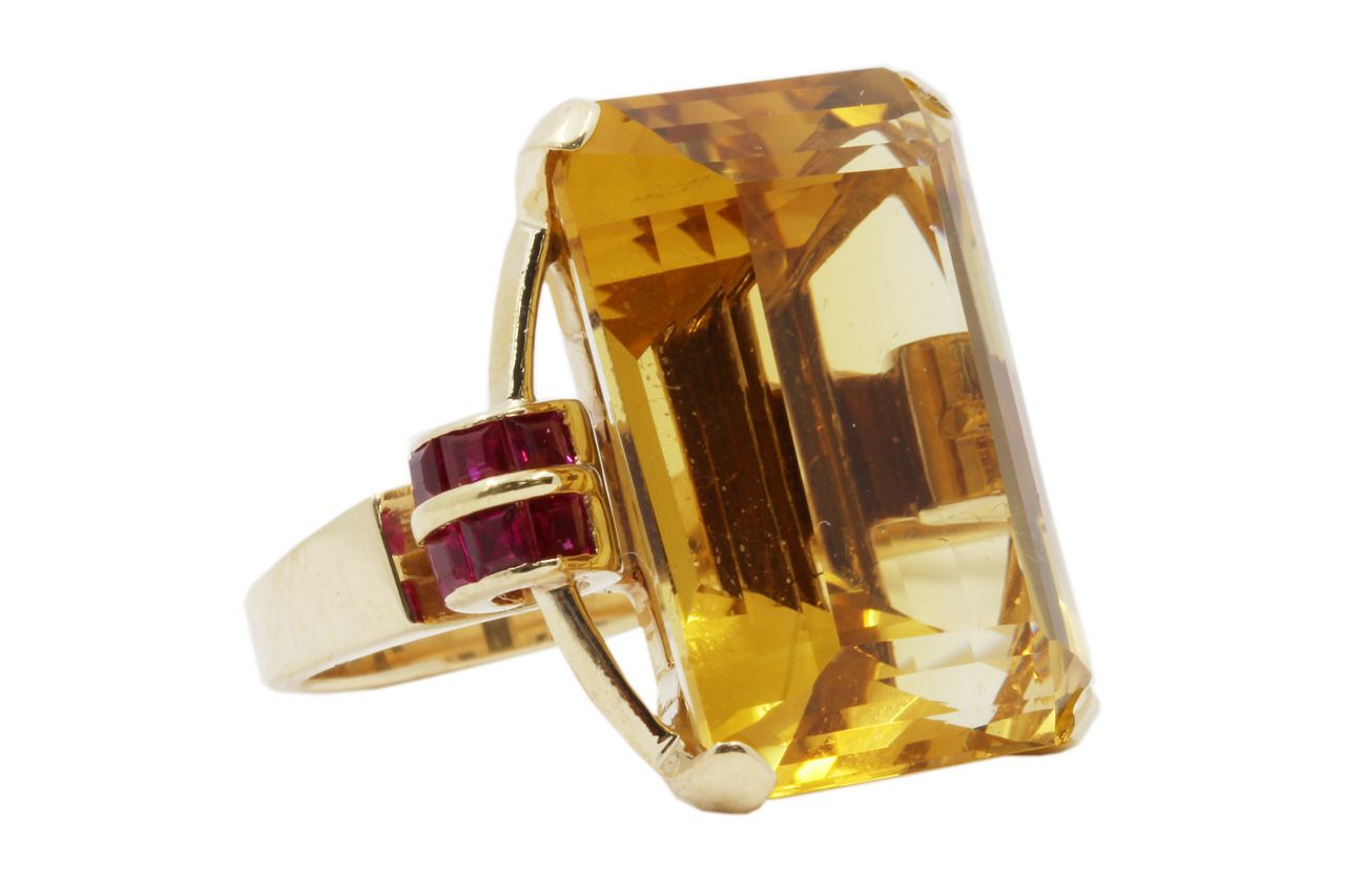 4c0d3b2df214d 14k Yellow Gold Citrine and Ruby Ring | rings | Rings, Citrine ring ...