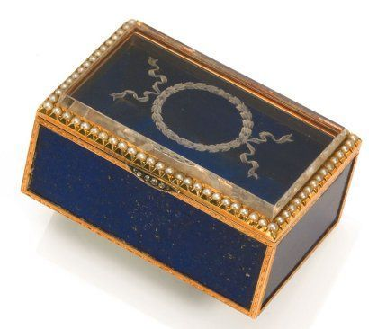 Faberge box, made from panels of lapis lazuli framed in yellow gold.