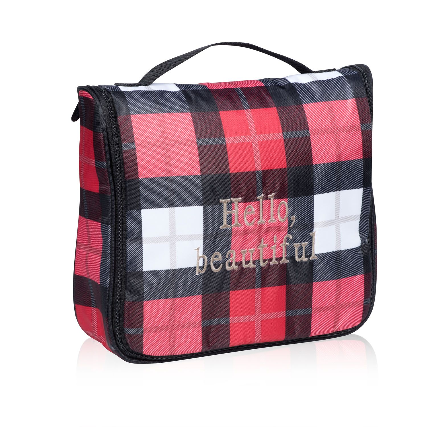 Hanging Traveler Case In Check Mate For Take Your Pampering - Travel bag for bathroom items for bathroom decor ideas