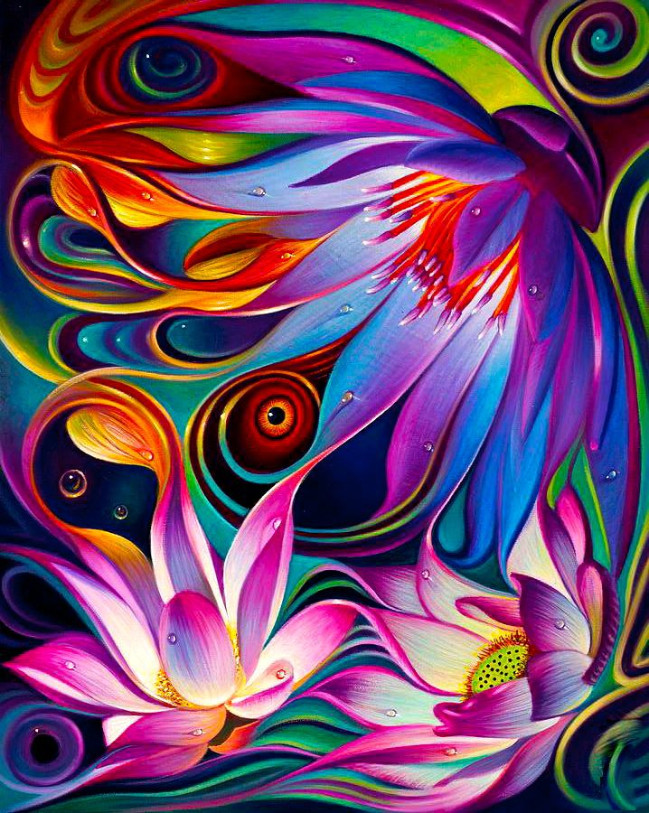 Pin By Gert Born On Psychedelia Flower Art Colorful Art Art Painting