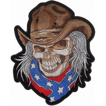 Old long haired cowboy skull with bullet holes in his hat and a confederate  flag bandana. Available in 2 sizes. 812f0b28a64