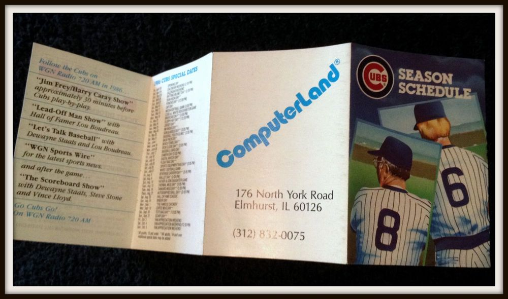 1986 CHICAGO CUBS COMPUTERLAND BASEBALL POCKET SCHEDULE FREE