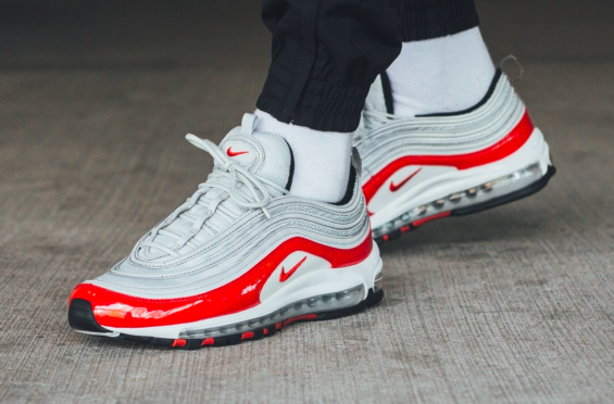 Look For The Nike Air Max 97 Pure Platinum University Red Now Kicksonfire Com Nike Air Max 97 Nike Air Max Sneakers Nike