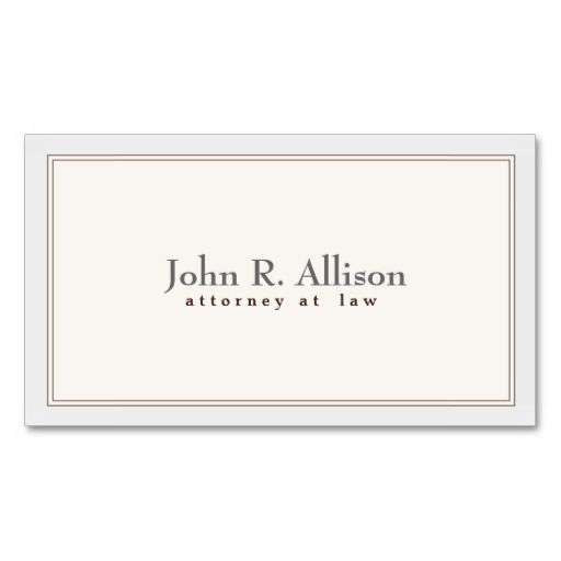 Attorney Elegant and Simple Ivory Border Business Card ...