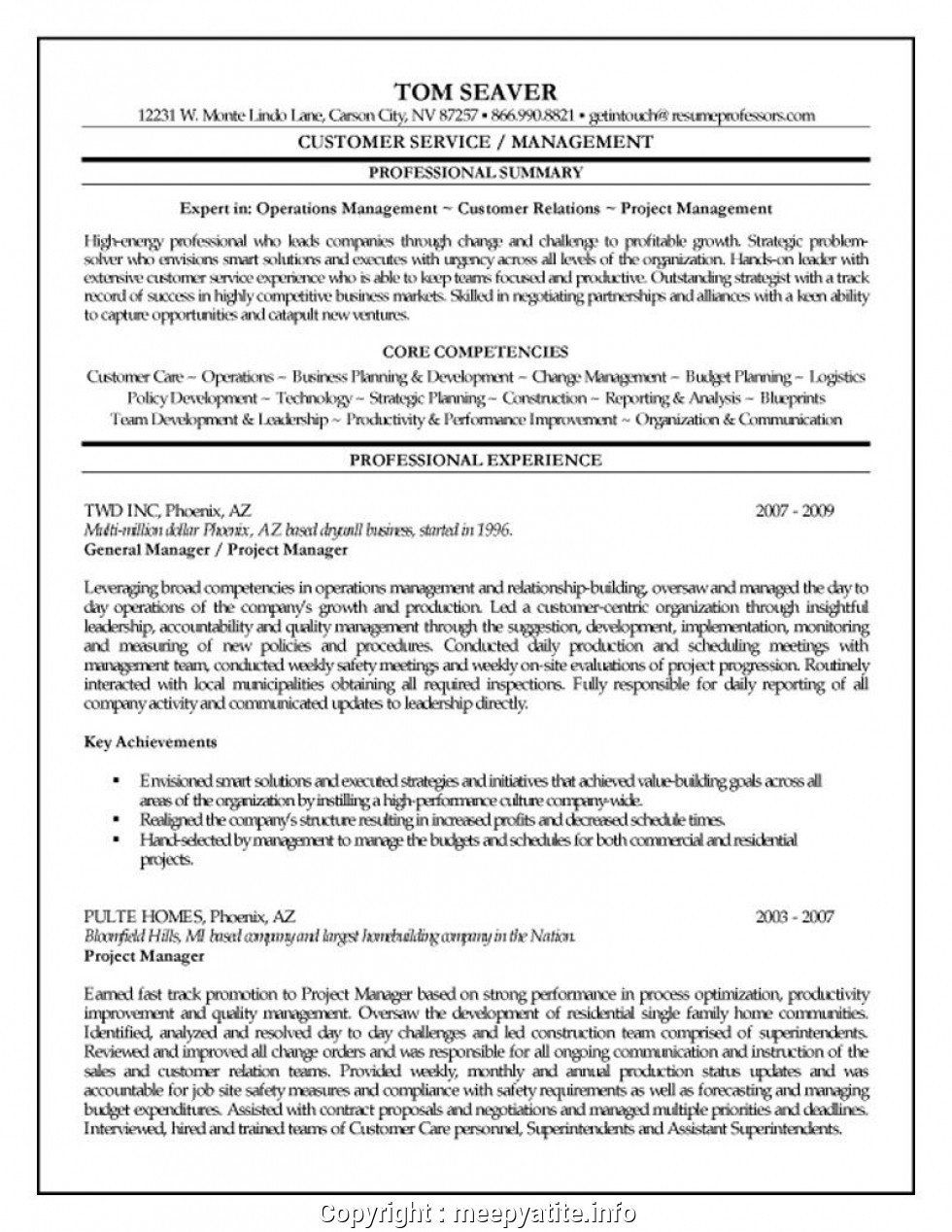 Construction Project Manager Resume 025 Project Manager Resume