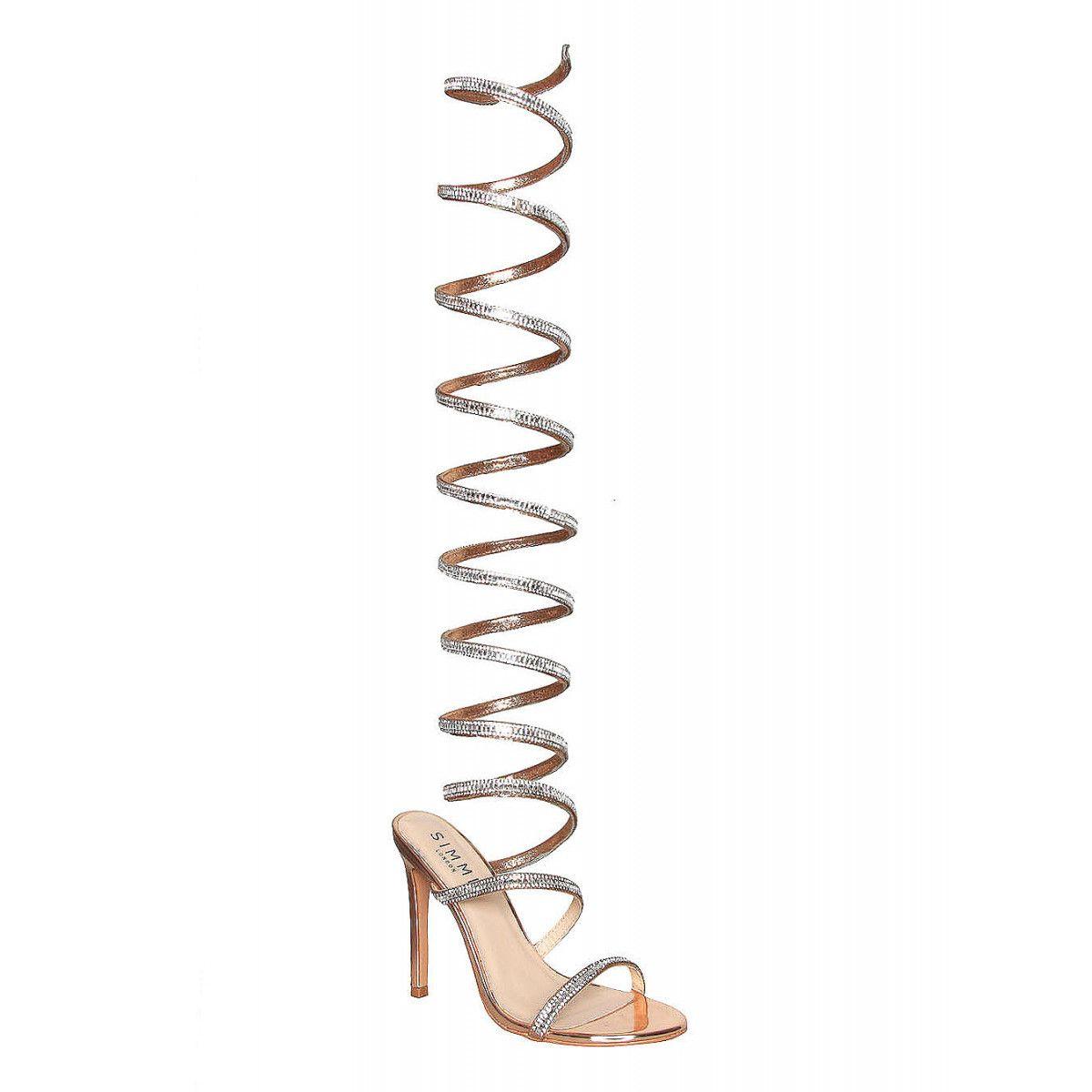 b5e927a91b062 Zora Rose Gold Diamonte Spiral Heels   Simmi Shoes