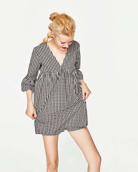 Image 3 De Robe Combinaison A Carreaux De Zara Jumpsuit Dress Womens Dresses Dresses
