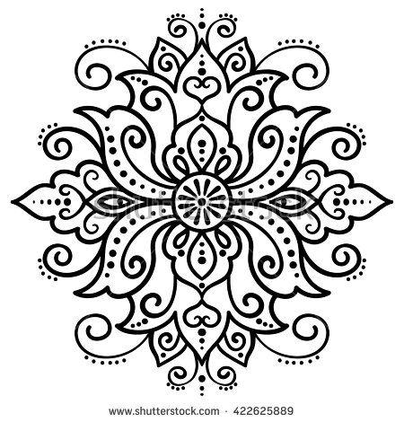 Vector Illustration Outline Mandala Lotus Abstract