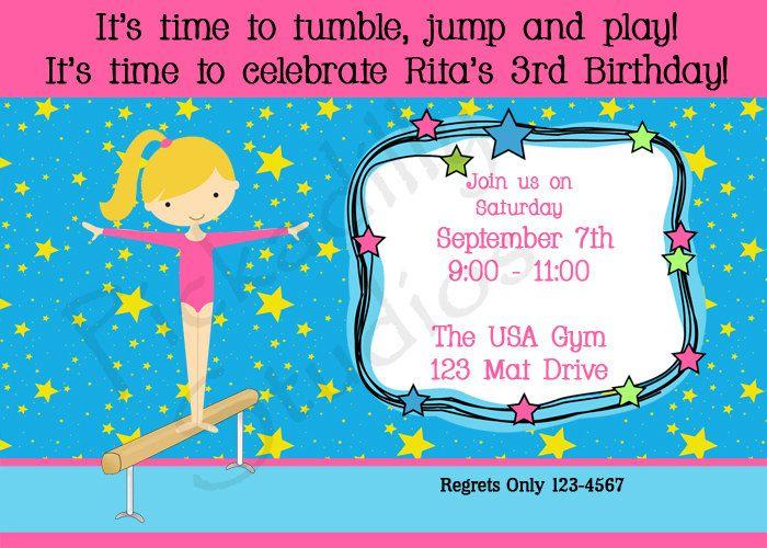 Gymnastics themed Birthday Party Invitations Birthday ideas - best of invitation wording for gymnastics party