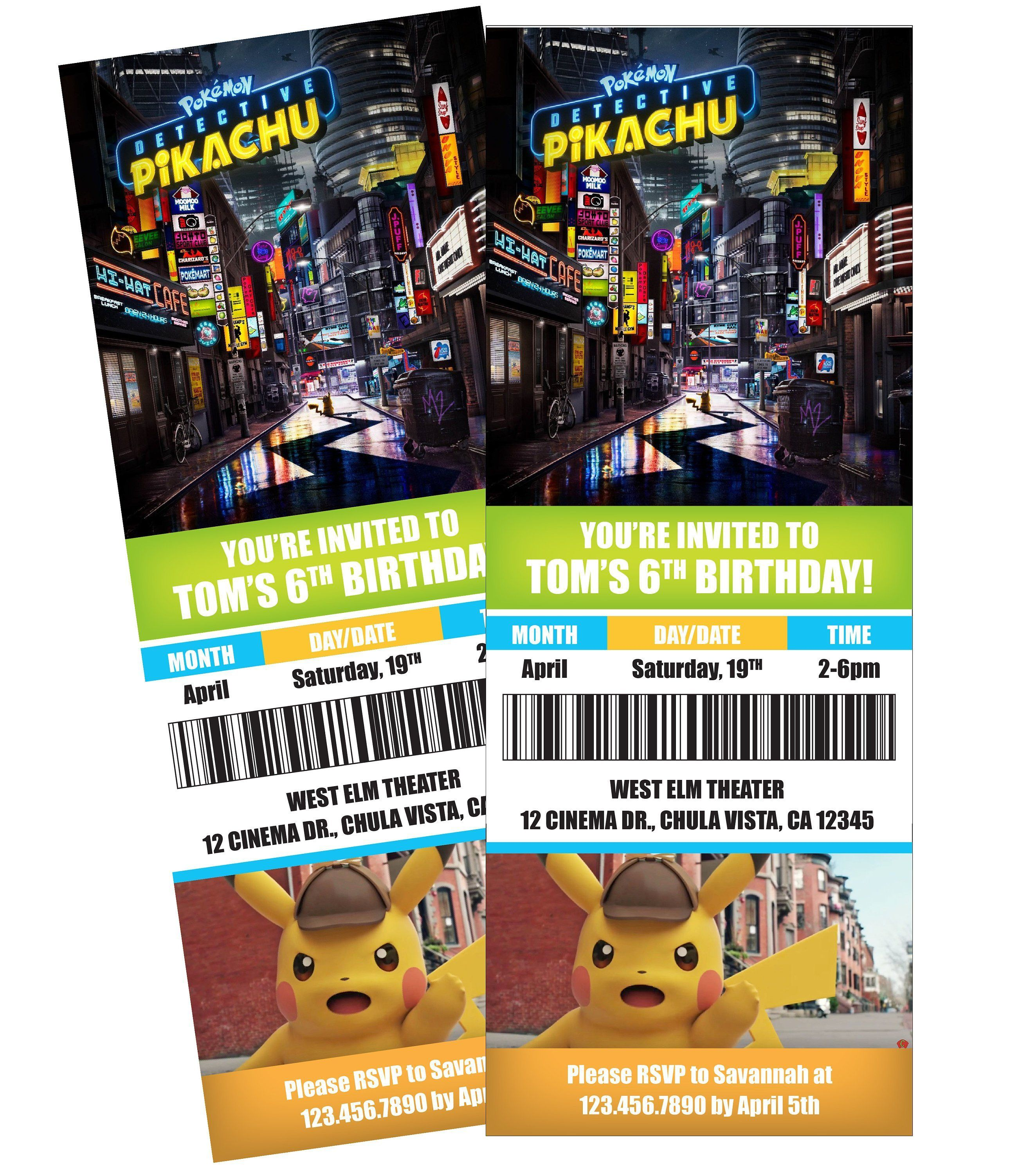 photograph regarding Printable Pokemon Invitations named Detective Pikachu Video clip Ticket Themed Birthday Celebration