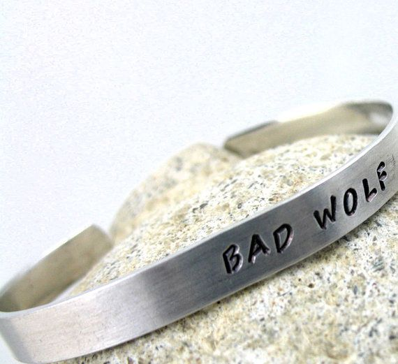 Bad Wolf  Hand Stamped Doctor Who Bracelet  by oneeyedfox on Etsy, $14.95
