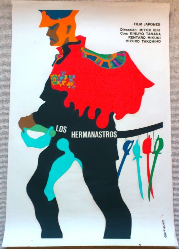 Los Hermanastros - Bachs 1969. Bachs' poster for this 1957 Japanese production features his trademark style to illustrate the tyrannical military officer at the centre of the film. Los Hermanastros (Stepbrothers) is a critique of male dominated Japanese society. The poster artwork is restrained yet creative, using limited colours and shapes to illustrate the aggressive face of the protagonist and the bright colours of his outfit.