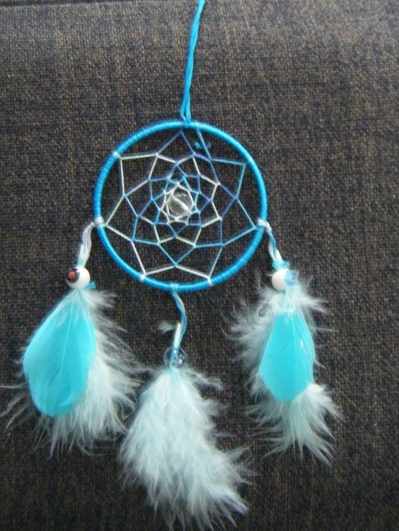 Attrape r ve bleu dream catchers catcher and diy ideas - Attrape reve crochet ...