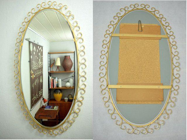 Großer Ovaler Wandspiegel Spiegel Vintage Flurspiegel