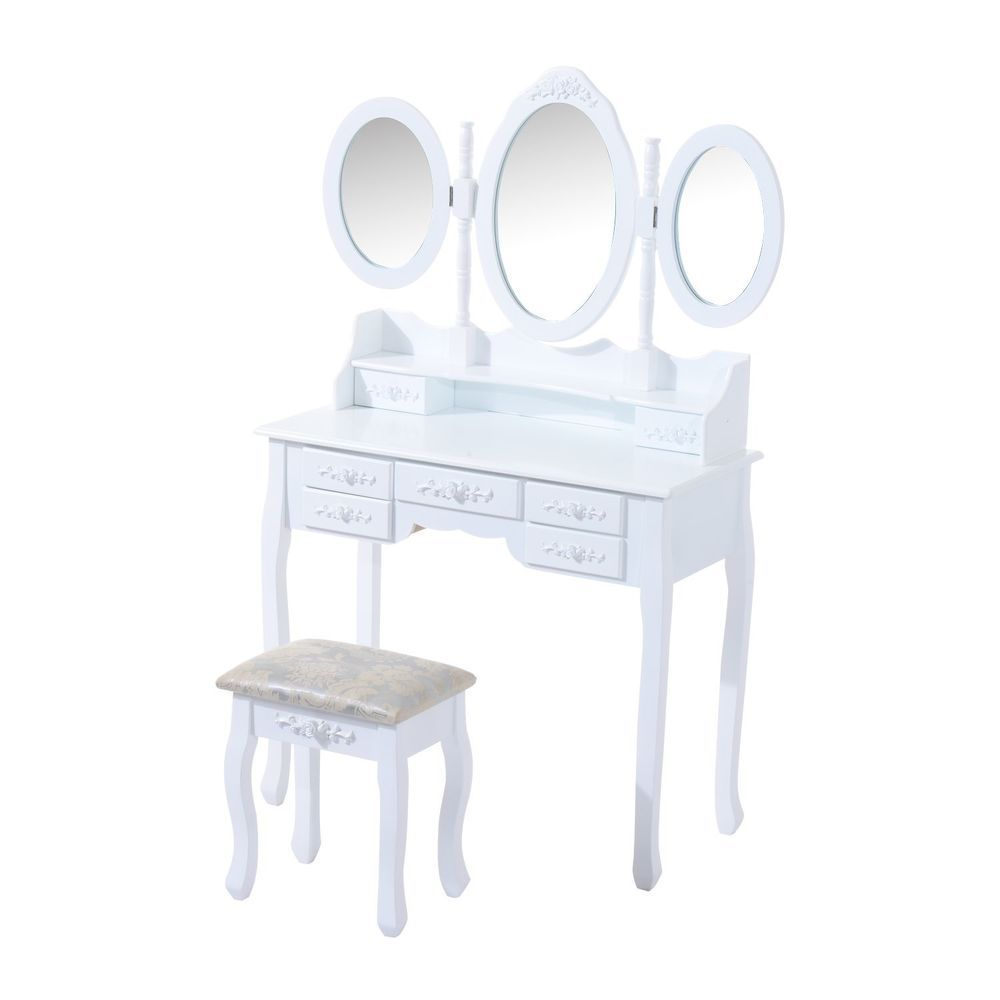 Womens Vintage Dressing Table Set White Wooden Vanity Makeup Desk Stool  Mirror f2b698b2c1