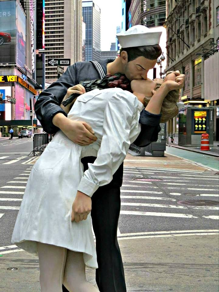 """Unconditional Surrender,"" sculpture by Seward Johnson, on the Broadway Pedestrian Mall, New York City. June 27, 2015."
