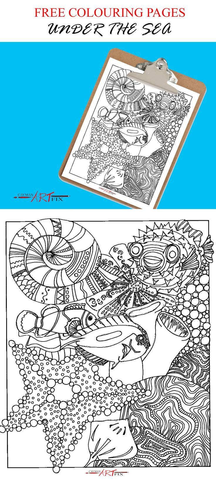 Under the Sea FREE Colouring Page | Pinterest | Adult coloring, Free ...