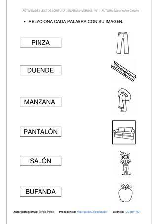 Silabas Inversas Con N Silabas Inversas Palabras Inversas Actividades Con Palabras