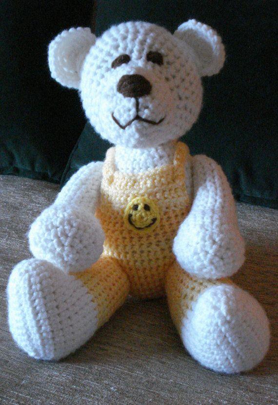 Crocheted teddy polar bear stuffed animal by GritSadlerOriginals