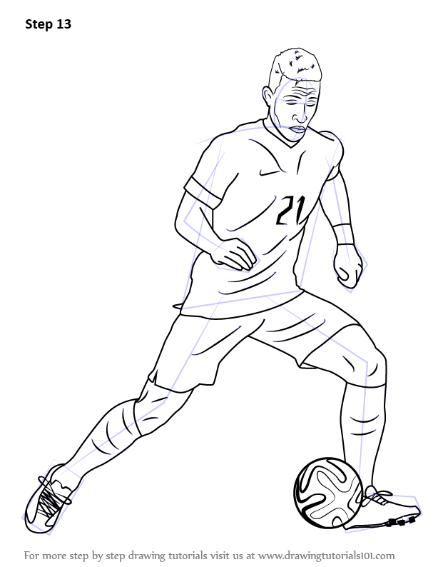 Learn How To Draw Memphis Depay Footballers Step By Step Drawing Tutorials Memphis Depay Memphis Drawings