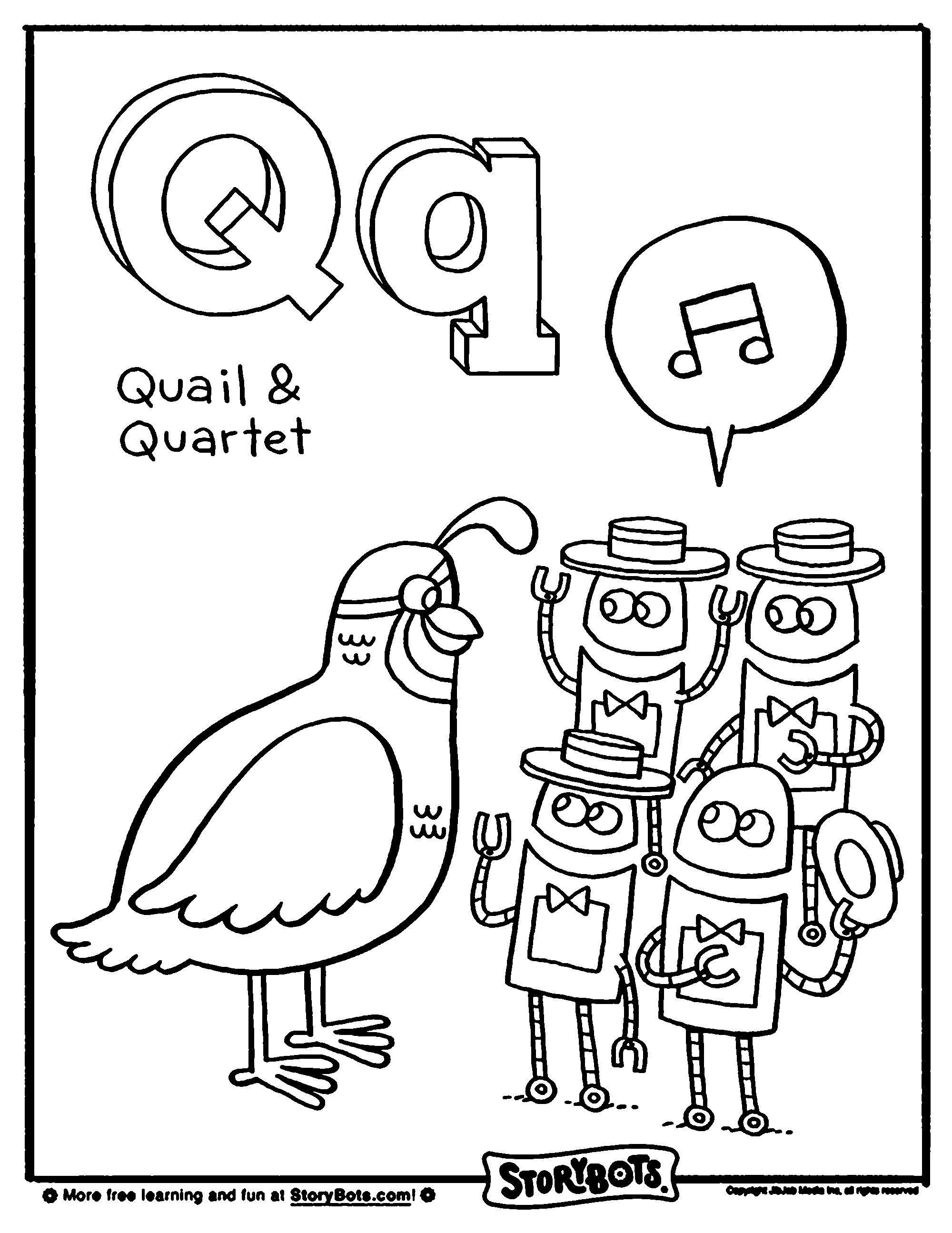 Letter Q Alphabet coloring pages, Alphabet coloring