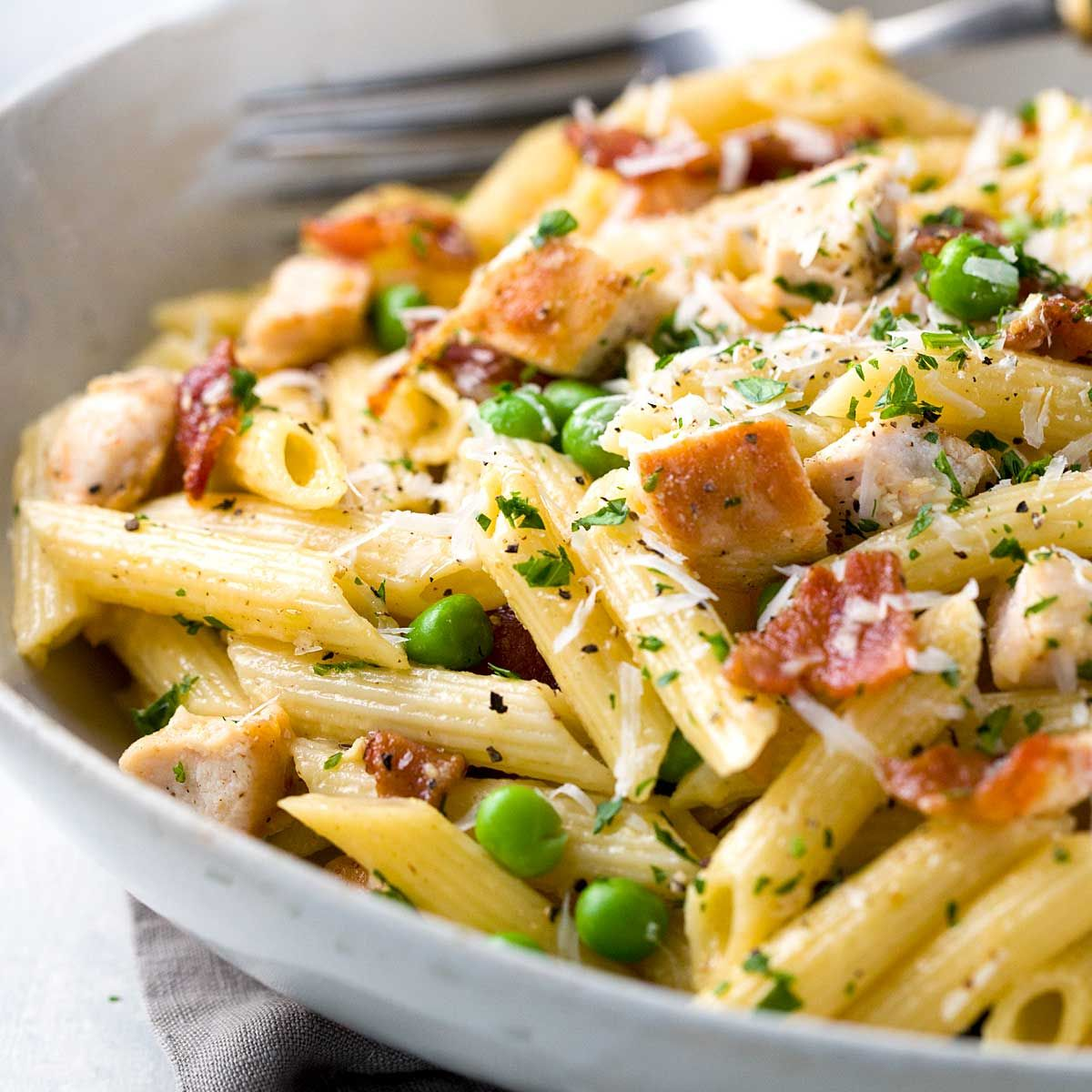 Barbecue Pork And Penne Skillet Recipe: One Pan Chicken Carbonara Penne Pasta