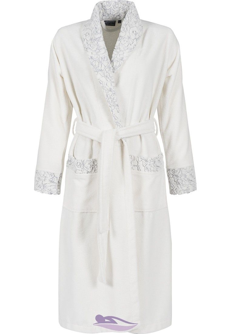 Stylish Pastunette Deluxe  Soft Blue Rose  ivory fleece morning gown with  matching shawl collar and cuffs 98b00c26a
