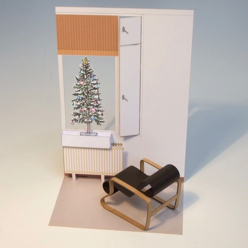 box21 Window box and Christmas tree for Paimio chair interior / パイミオチェアの窓辺にクリスマスツリー #paimiochair #paperchristmastree #papermodel #onetosixteen
