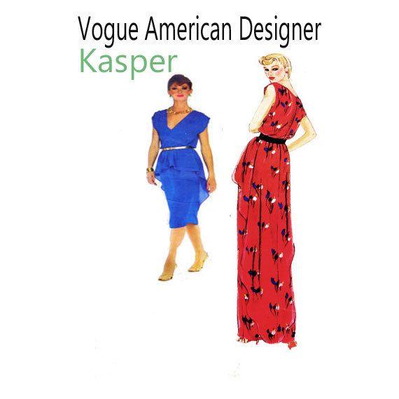 Vogue 2331, Kasper, Vogue American Designer, Evening Gown, V ...