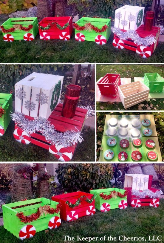 Wooden Train Garden Planter Made With Crates | The WHOot Christmas  Decorations For Outside, Decorating - Wooden Train Garden Planter Made With Crates Christmas Pinterest