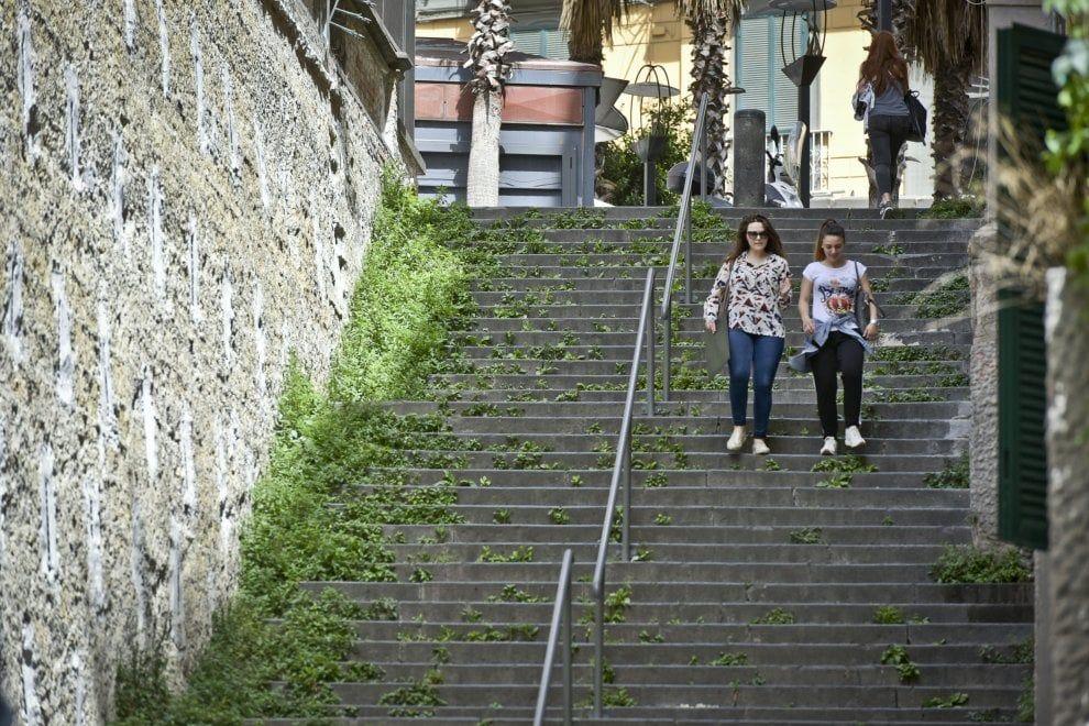 Erba alta, rifiuti e degrado: abbandonata la scalinata di Santa Caterina da Siena